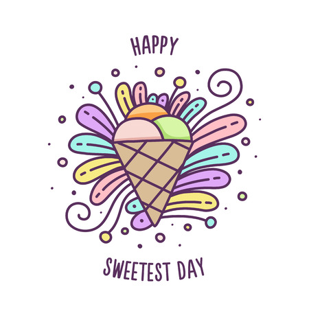 Happy Sweetest day. Colorful vector illustration of ice cream. Ilustração