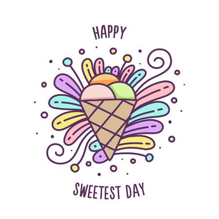 Szczęśliwy najsłodszy dzień. Ilustracja wektorowa kolorowy lodów.