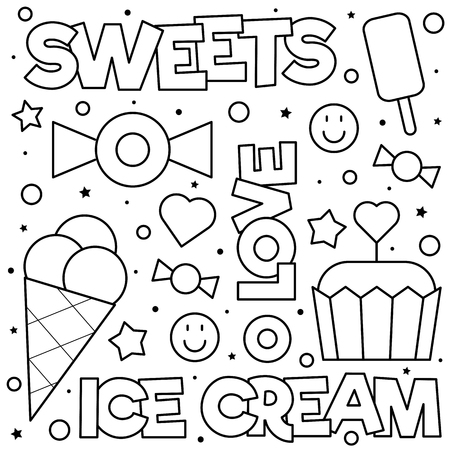 Sweets. Coloring page. Black and white vector illustration