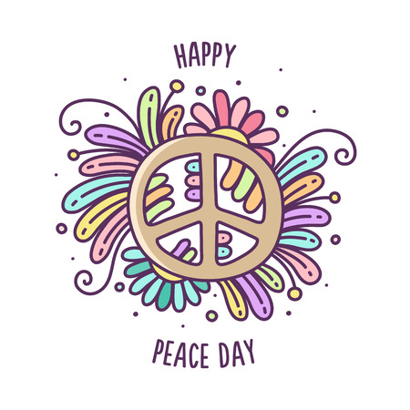 Happy Peace day. Colorful vector illustration of peace sign.