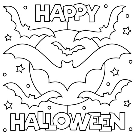 Happy Halloween. Coloring page. Black and white vector illustration
