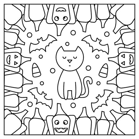 Cat and pumpkins. Coloring page. Black and white vector illustration Ilustração