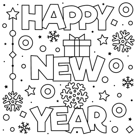 Happy New Year. Coloring page. Black and white vector illustration