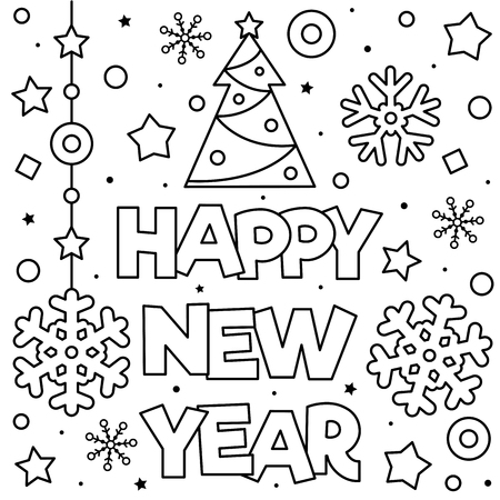 Happy New Year. Coloring page. Black and white vector illustration Ilustração