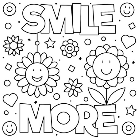 Smile more. Coloring page. Black and white vector illustration Ilustração