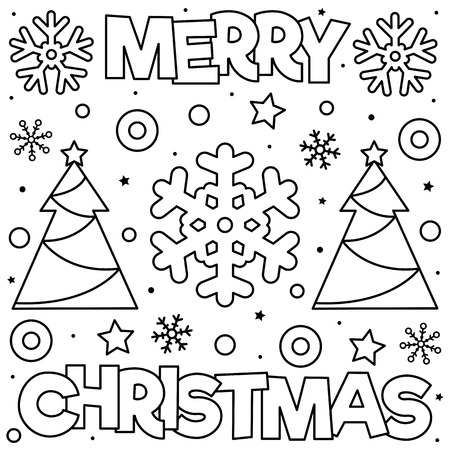 - Merry Christmas. Coloring Page. Black And White Vector Illustration Royalty  Free Cliparts, Vectors, And Stock Illustration. Image 109808603.