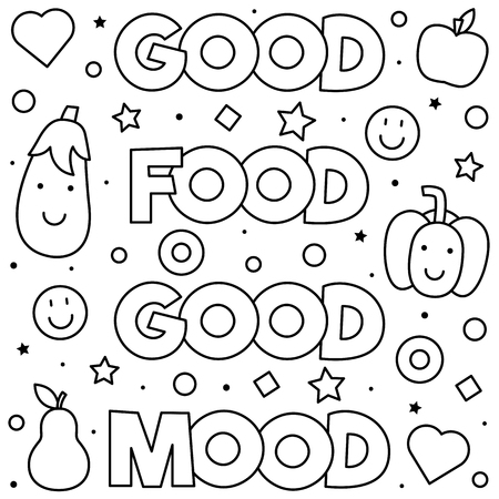 Good food good mood. Coloring page. Black and white vector illustration Illustration