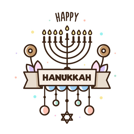 Happy Hanukkah. Vector illustration. Jewish holiday. Banner.