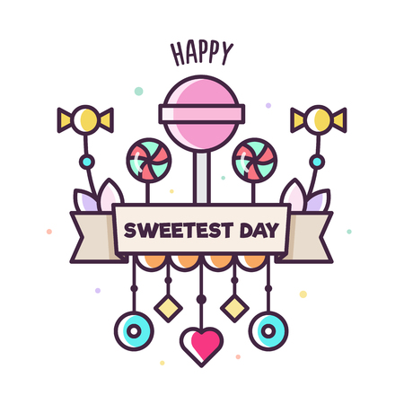 Happy Sweetest day. Vector illustration of ice cream. 스톡 콘텐츠
