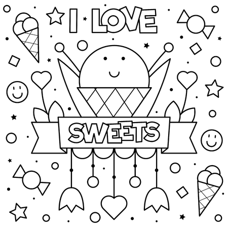 I love sweets. Coloring page. Vector illustration. Foto de archivo - 108811547