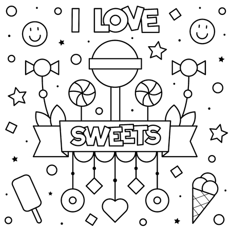 I love sweets. Coloring page. Vector illustration. Foto de archivo - 108811550