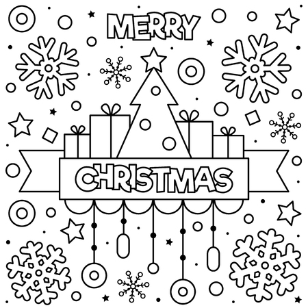 Merry Christmas drawing for Coloring page. Black and white vector illustration.