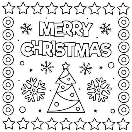 Merry Christmas. Coloring page. Black and white vector illustration. Stock Photo