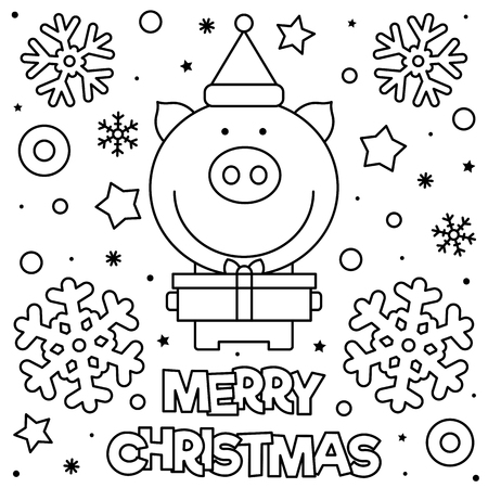 Merry Christmas. Coloring page. Black and white vector illustration of a pig with present