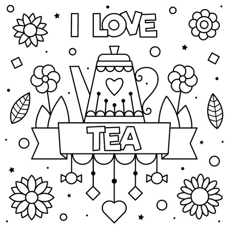 I love tea. Coloring page. Vector illustration. Imagens