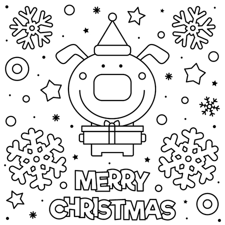 Merry Christmas. Coloring page. Black and white vector illustration. Ilustração