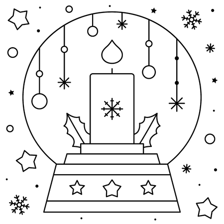 Snow globe with a candle. Coloring page. Black and white vector illustration. Imagens