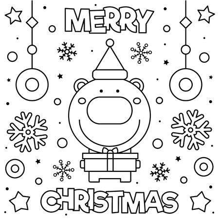 Merry Christmas. Coloring page. Black and white vector illustration of a bear with present