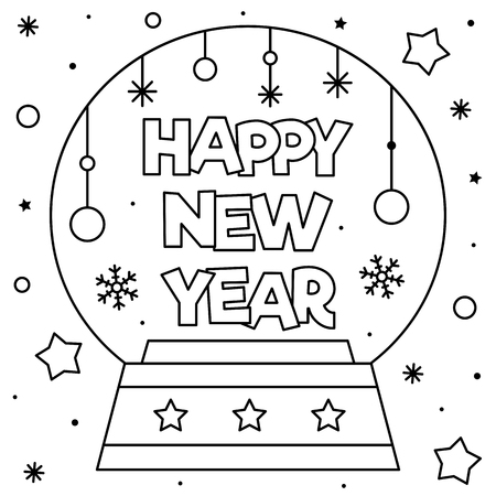 Happy New Year. Coloring page. Vector illustration.