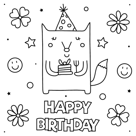 Happy Birthday. Coloring page. Black and white vector illustration Standard-Bild - 127725499