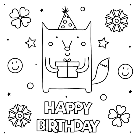 Happy Birthday. Coloring page. Black and white vector illustration Standard-Bild - 127725500