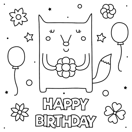 Happy Birthday. Coloring page. Vector illustration of a fox.