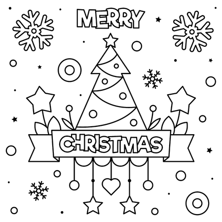 Merry Christmas. Coloring page. Black and white vector illustration Ilustração