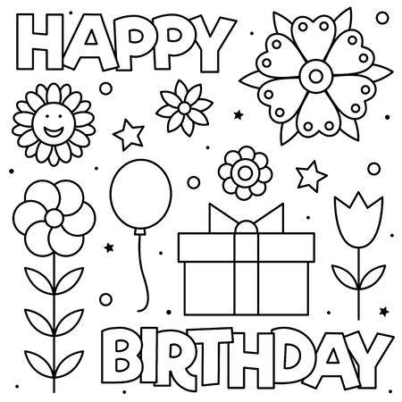 Happy Birthday. Coloring page. Black and white vector illustration
