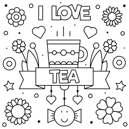 I love tea. Coloring page. Black and white vector illustration Illusztráció
