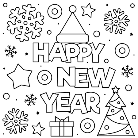 Happy New Year. Coloring page. Black and white vector illustration Stockfoto - 127434843