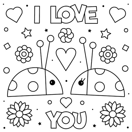 I Love You. Coloring page. Black and white vector illustration of ladybirds.
