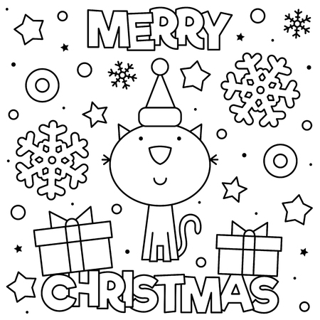 Merry Christmas. Coloring page. Black and white vector illustration Standard-Bild - 127434845