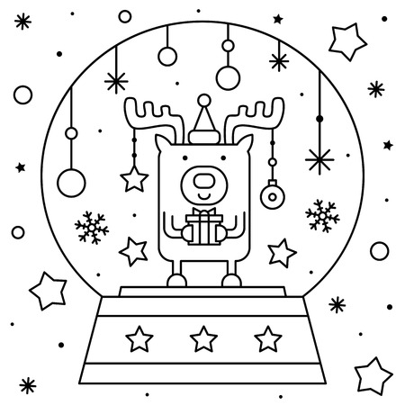 Snow globe with a deer with present. Coloring page. Black and white vector illustration. Illustration