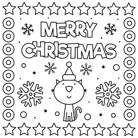 Merry Christmas. Coloring page. Black and white vector illustration Standard-Bild - 127434848