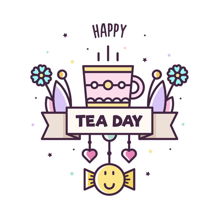 Happy Tea Day. Vector illustration of mug.