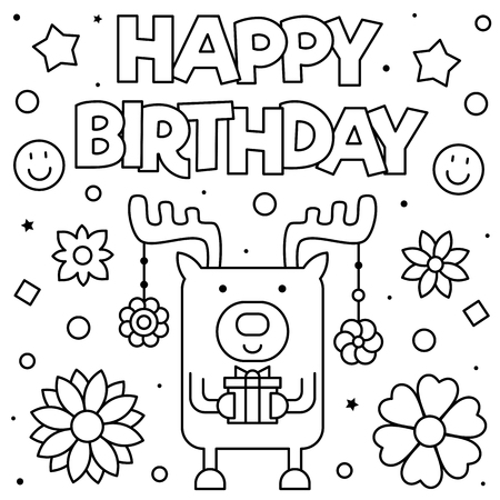 Happy Birthday. Coloring page. Vector illustration of deer.