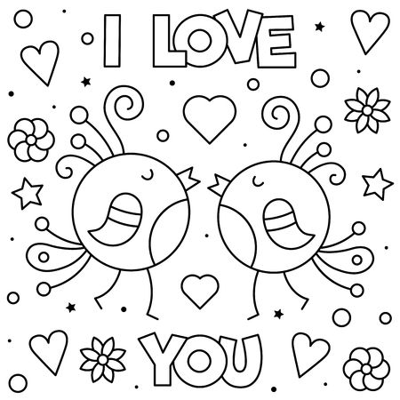 I Love You. Coloring page. Black and white vector illustration. Imagens