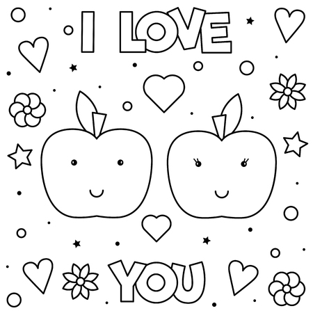 I Love You. Coloring page. Black and white vector illustration of apples. Vectores