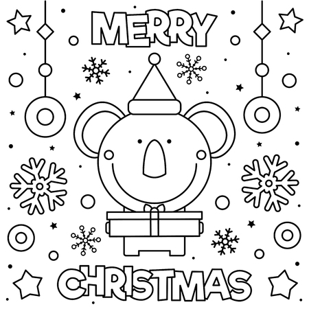 Merry Christmas. Coloring page. Black and white vector illustration of a koala with present Illusztráció