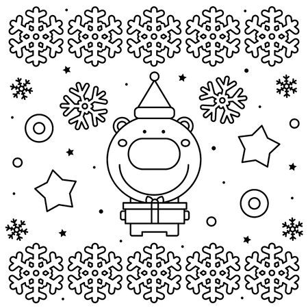 Coloring page. Black and white vector illustration of a bear with present Illusztráció