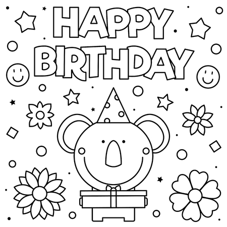Happy Birthday. Coloring page. Black and white vector illustration Standard-Bild - 127249157