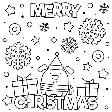 Merry Christmas. Coloring page. Black and white vector illustration Illusztráció