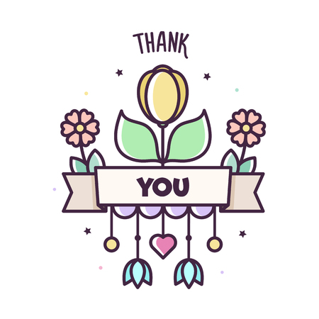 Thank you. Vector illustration of cute flowers. Banner Stok Fotoğraf - 127097340