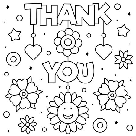 Thank you. Coloring page. Black and white vector illustration Stock Illustratie