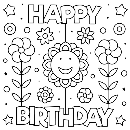 Happy Birthday. Coloring page. Black and white vector illustration Stockfoto - 127097342