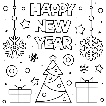 Happy New Year. Coloring page. Black and white vector illustration Illusztráció