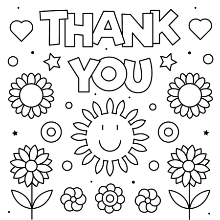 Thank you. Coloring page. Black and white vector illustration Иллюстрация