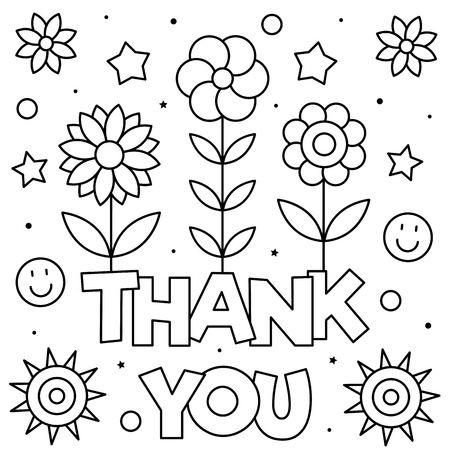 Thank you. Coloring page. Black and white vector illustration Illustration