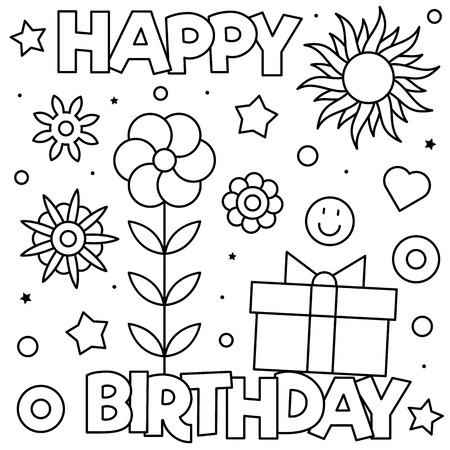 Happy Birthday. Coloring page. Black and white vector illustration Imagens - 127097346