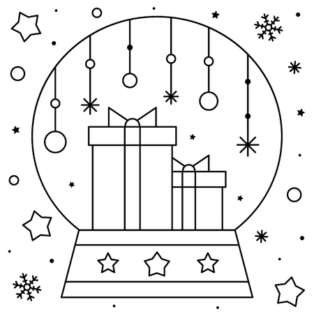 Snow globe with gifts. Coloring page. Black and white vector illustration Ilustração